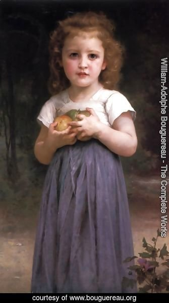 William-Adolphe Bouguereau - Petite fille tenant des pommes dans les mains (Little girl holding apples in her hands)