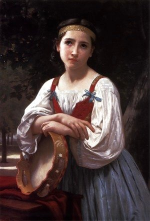 William-Adolphe Bouguereau - Bohemienne au Tambour de Basque (Gypsy Girl with a Basque Drum)