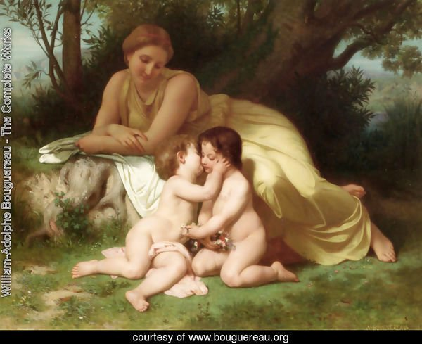 Jeune femme contemplant deux enfants qui s'embrassent (Young woman contemplating two embracing children)