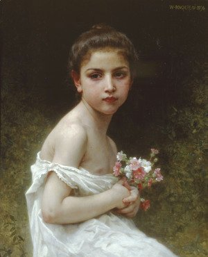 William-Adolphe Bouguereau - Petite fille au bouquet (Little girl with a bouquet)