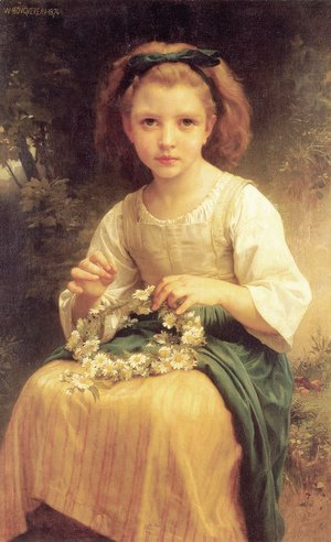 William-Adolphe Bouguereau - Enfant tressant une couronne (Child braiding a crown)