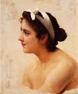 William-Adolphe Bouguereau - Étude d'une femme, pour Offrande à l'Amour (Study of a woman, for Offering to Love)