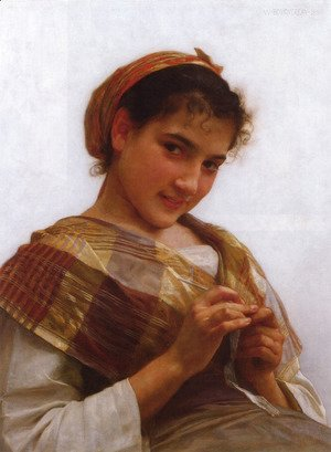 William-Adolphe Bouguereau - Jeune fille au crochet (Young girl crocheting)