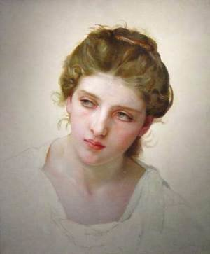 William-Adolphe Bouguereau - Étude de Tête de Femme Blonde de Face (Study of the Head of a Blonde Woman)