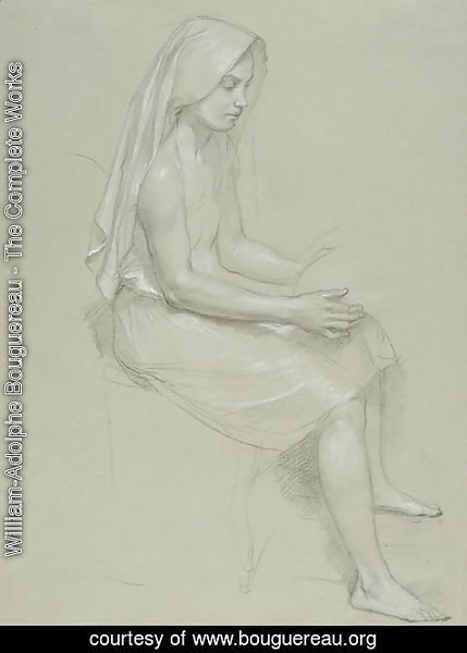 William-Adolphe Bouguereau - Study of a Seated Veiled Female Figure
