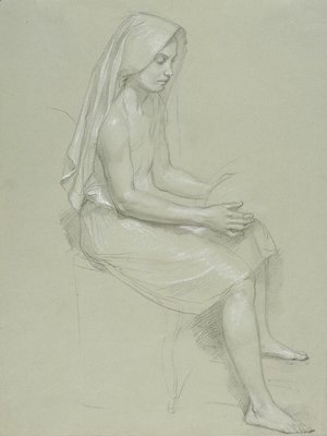Study of a Seated Veiled Female Figure