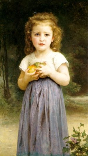Little Girl Holding Apples