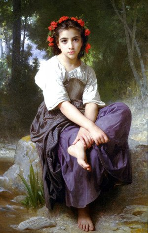 William-Adolphe Bouguereau - At the Edge of the Brook