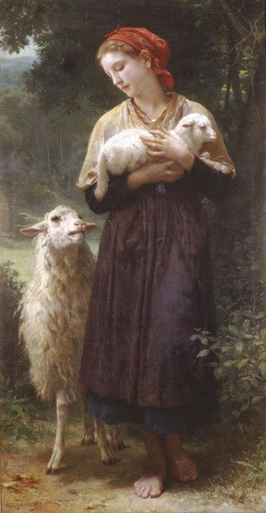 William-Adolphe Bouguereau - L'agneau nouveau-né [The Newborn Lamb]