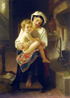 William-Adolphe Bouguereau - Young Mother Gazing At Her Child