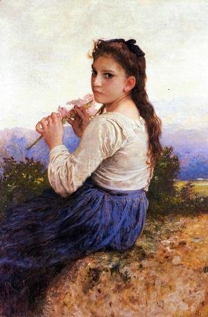 William-Adolphe Bouguereau - Young Girl Holding a Pink Gladiolus