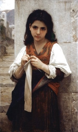 William-Adolphe Bouguereau - Knitting machine